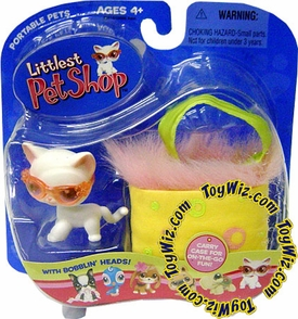 Littlest Pet Shop Pets On The Go Figure White Shorthair Cat with Pink Sunglasses & Carry Case