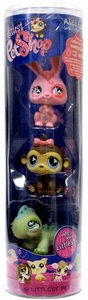 Littlest Pet Shop Tube 3-Pack Pink Bunny, Girl Monkey & Iguana