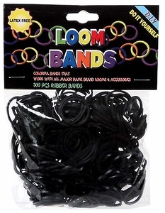Loom Bands 300 Black Rubber Bands with 'S' Clips