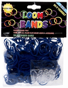 Loom Bands 300 Dark Blue Rubber Bands with 'S' Clips