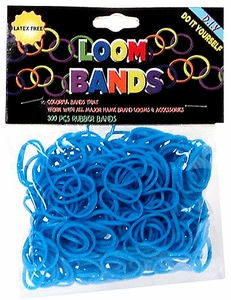 Loom Bands 300 Light Blue Rubber Bands with 'S' Clips