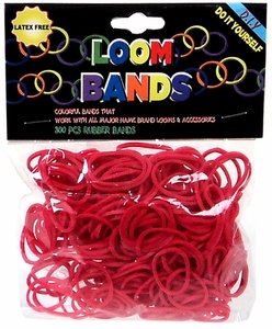 Loom Bands 300 Red Rubber Bands with 'S' Clips