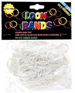 Loom Bands 300 White Rubber Bands with 'S' Clips