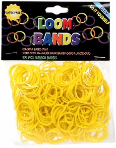 Loom Bands 300 Yellow Rubber Bands with 'S' Clips
