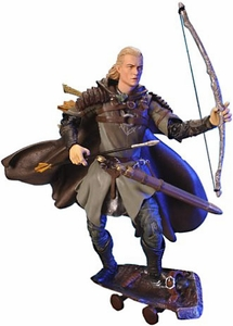 Lord of the Rings Trilogy Two Towers Action Figure Helm's Deep Legolas with Shield Skateboard