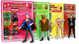 Mad Monster 8 Inch Action Figure Set Frankenstein, Dracula, Wolfman & Mummy