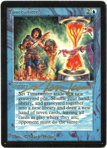 Magic the Gathering Beta Limited Single Card Rare Timetwister Very Slightly Played Signed by Mark Tedin