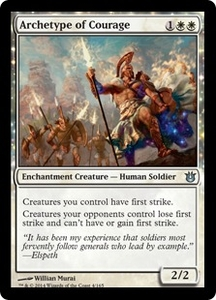 Magic: The Gathering Born of the Gods Single Card White Uncommon #4 Archetype of Courage