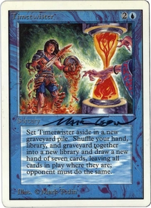 Magic the Gathering Unlimited Edition Single Card Rare Timetwister Near/Mint Condition Signed by Mark Tedin