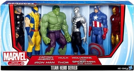Marvel Avengers Titan Hero Series Exclusive 12 Inch Action Figure 6-Pack Captain America, Iron Man, Hulk, Wolverine, Thor & Spider-Man