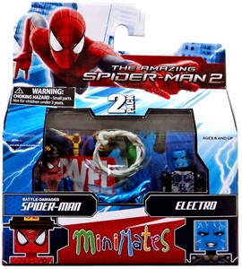 Marvel Minimates Amazing Spider-Man 2 Movie Series 56 Mini Figure 2-Pack Battle-Damaged Spider-Man & Electro