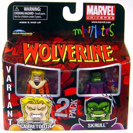 Marvel MiniMates Series 28 Mini Figure 2-Pack 1st Appearance Sabretooth Variant & Skrull