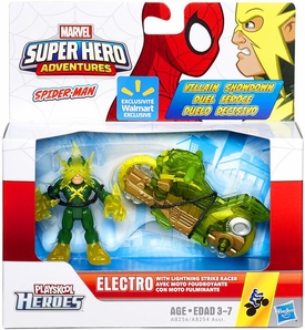 Marvel Playskool Super Hero Adventures Villain Showdown Exclusive  Figure & Vehicle Electro with Lightning Strike Racer