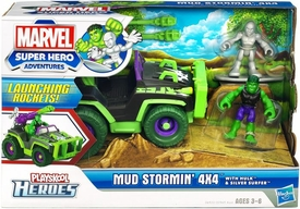 Marvel Playskool Super Hero Adventures Mini Figure & Vehicle Playset Mud Stormin' 4x4 with Hulk & Silver Surfer