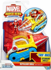 Marvel Playskool Super Hero Adventures Mini Figure & Vehicle Repulsor Drill with Iron Man
