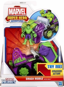Marvel Playskool Super Hero Adventures Mini Figure & Vehicle Smash Mobile with Hulk