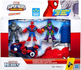 Marvel Playskool Super Hero Adventures Villain Showdown Exclusive Launcher Showdown 3-Pack Spider-Man, Green Goblin & Rhino [with Cycle & Launcher]