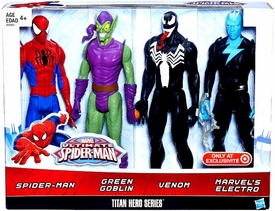 Marvel Ultimate Spider-Man Titan Hero Series Exclusive 12 Inch Action Figure 4-Pack Spider-Man, Green Goblin, Venom & Electro New!