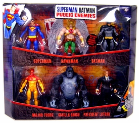 Mattel DC Superman Batman Public Enemies Action Figure 6-Pack Superman, Hawkman, Batman, Major Force, Gorilla Grodd & President Luthor