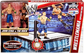 Mattel WWE Wrestling PPV Exclusive Wrestlemania Superstar Ring [John Cena & Rock Action Figures!]