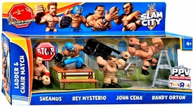 Mattel WWE Wrestling Slam City Action Figure Exclusive 4-Pack Ladder & Chair Match [Sheamus, Rey Mysterio, John Cena & Randy Orton]