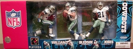 McFarlane Toys NFL Sports Picks Exclusive Dallas Cowboys Action Figure 3-Pack (Drew Bledsoe, Julius Jones & Roy Williams) Damaged Package, Mint Contents!