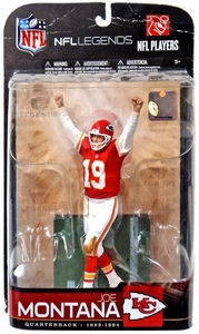 McFarlane Toys NFL Sports Picks Legends Series 5 Action Figure Joe Montana (Kansas City Chiefs) Red Jersey Damaged Package, Mint Contents!