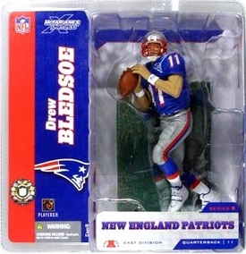 McFarlane Toys NFL Sports Picks Series 8 Action Figure Drew Bledsoe (New England Patriots) Blue Jersey Retro Variant