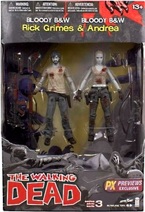 McFarlane Toys Walking Dead Comic Series 3 Exclusive Bloody Black & White Action Figure 2-Pack [Rick Grimes & Andrea] Pre-Order ships November