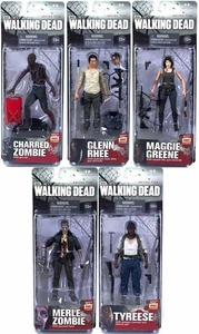 McFarlane Toys Walking Dead TV Series 5 Set of 5 Action Figures [Glenn, Tyreese, Maggie, Charred Zombie & Merle Zombie]