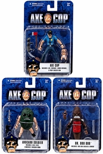 Mezco Axe Cop 4 Inch Series 1 Set of 3 Action Figures Axe Cop, Dr. Doo Doo & Avocado Soldier