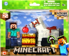 Minecraft Figure 2-Pack Steve & Horse New Hot!