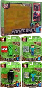 Minecraft Jazwares Set of all 4 Core Action Figures with BONUS Storage Cube Case New!
