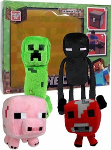 Minecraft Jazwares Set of all 4 Plush Figures with BONUS Storage Cube Case