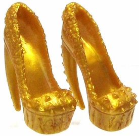 Monster High 10.5 Inch Scale LOOSE Doll Accessory Pair of Gold Studded Platform Spiked High Heels