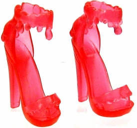 Monster High 10.5 Inch Scale LOOSE Doll Accessory Transparent Red Sandals with Dripping Ankle Strap
