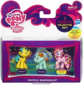 My Little Pony Friendship is Magic Ponyville Newsmaker 3-Pack Snailsquirm, Snipsy Snap & Rainbowfied Pinkie Pie New Hot!