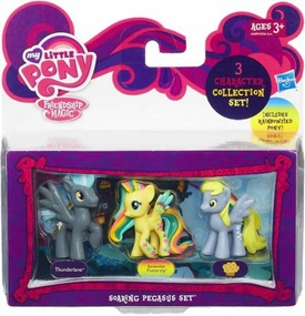 My Little Pony Friendship is Magic Soaring Pegasus 3-Pack Thunderlane, Rainbowfied Fluttershy & Derpy New Hot!