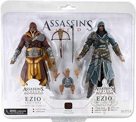 NECA Assassin's Creed Exclusive Ezio Auditore Action Figure 2-Pack Florentine Scarlet & Caspian Teal