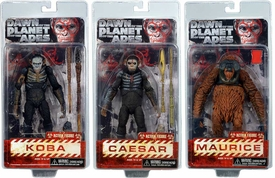 NECA Dawn of the Planet of the Apes Series 1 Set of 3 Action Figures [Caesar, Maurice & Koba] Hot!