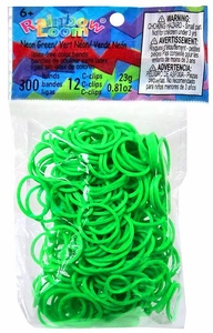 Official Rainbow Loom 300 Ct. Rubber Band Refill Pack Neon Green [Includes 12 C-Clips!]