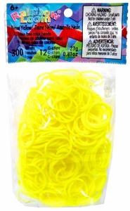 Official Rainbow Loom 300 Ct. Rubber Band Refill Pack Neon Yellow [Includes 12 C-Clips!]