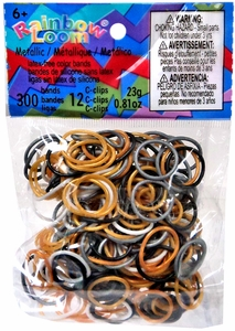 Official Rainbow Loom 300 Ct. SILICONE Rubber Band Refill Pack Mixed Metallic {Gold, Silver & Black} [Includes 12 C-Clips!]