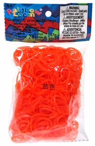 Official Rainbow Loom 600 Ct. Rubber Band Refill Pack *JELLY* Orange [Includes 24 C-Clips!]