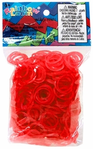 Official Rainbow Loom 600 Ct. Rubber Band Refill Pack *JELLY* Red [Includes 25 C-Clips!] New Hot!