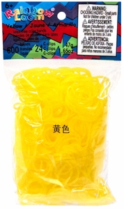 Official Rainbow Loom 600 Ct. Rubber Band Refill Pack *JELLY* Yellow [Includes 25 C-Clips!] Hot!