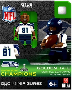 OYO Football NFL Building Brick Minifigure Golden Tate [Seattle Seahawks] Super Bowl XLVIII Champions