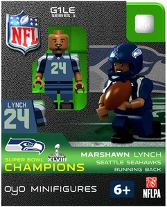 OYO Football NFL Building Brick Minifigure Marshawn Lynch [Seattle Seahawks] Super Bowl XLVIII Champions