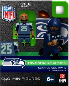 OYO Football NFL Building Brick Minifigure Richard Sherman  [Seattle Seahawks] {Hair Not Included! We Added That Ourselves!}