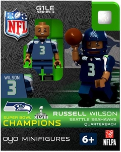 OYO Football NFL Building Brick Minifigure Russell Wilson [Seattle Seahawks] Super Bowl XLVIII Champions